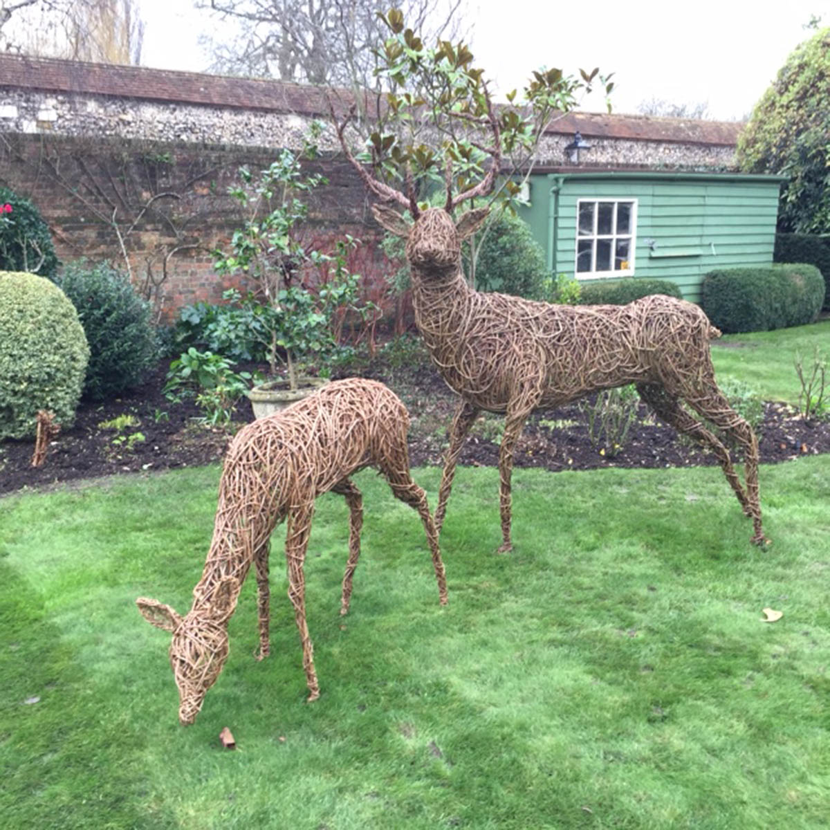 Willow sculpture of a stag