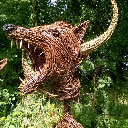Willow sculpture of monster for Joe Casely Hayford, fashion designer