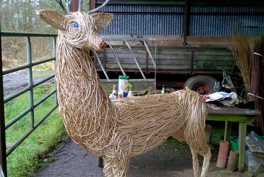 Willow sculpture of a deer