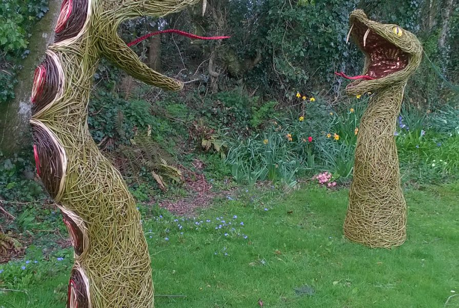 Willow sculpture of a snake