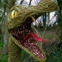 Willow sculpture of a serpent