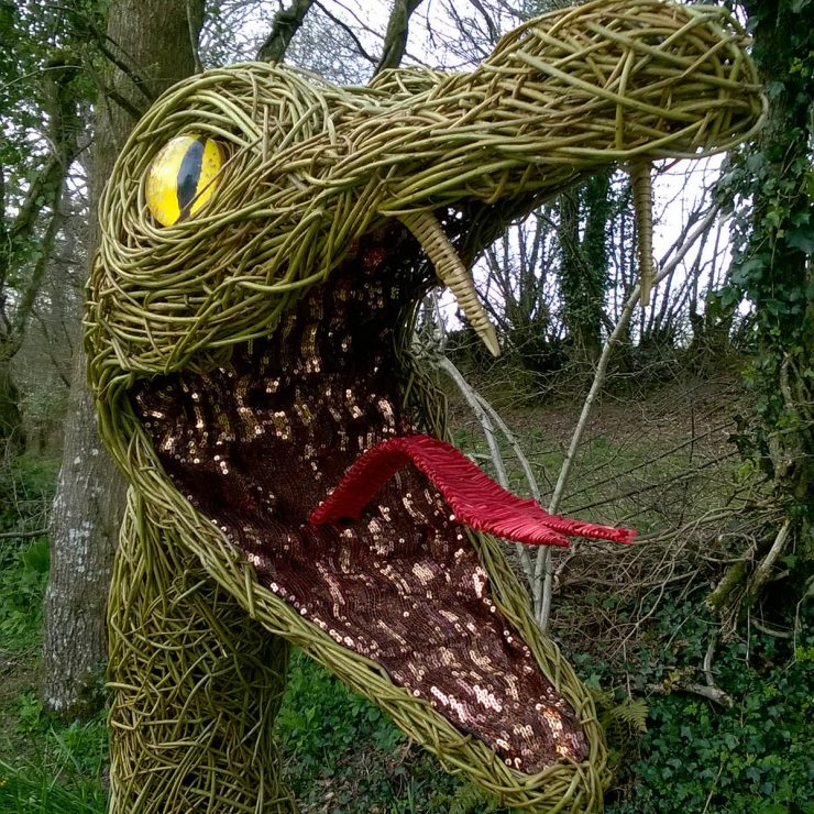 Willow sculpture of a serpent