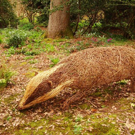 Willow sculpture of giant badger sculpture