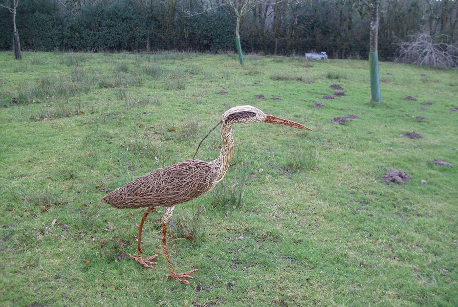 Willow sculpture of a heron
