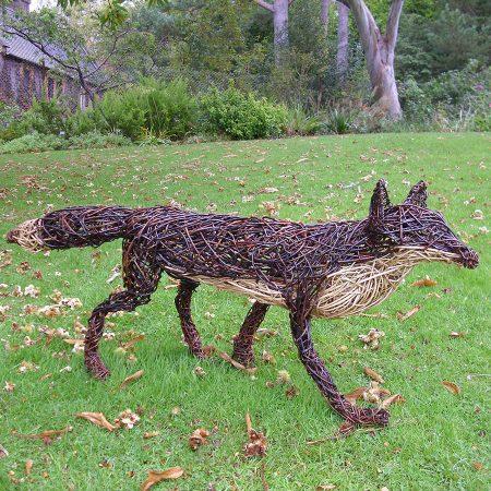 Willow sculpture of a fox