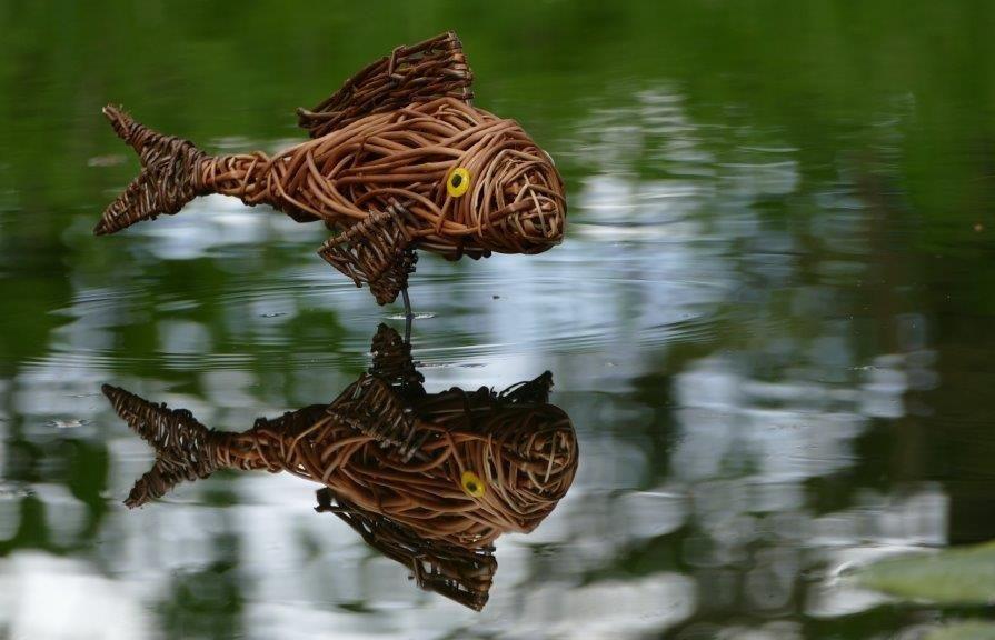 Willow sculpture of carp