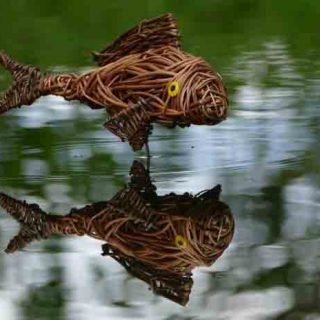 Willow sculpture of a carp
