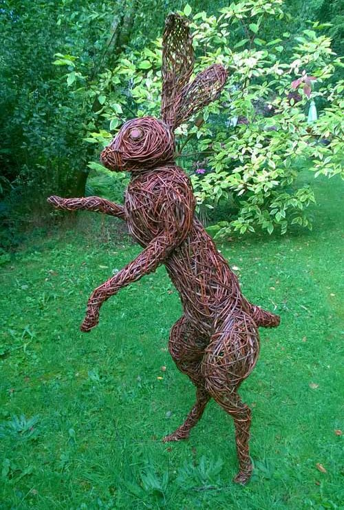 Willow sculpture of giant hare