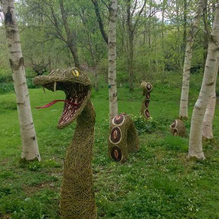 Willow sculpture of giant serpent