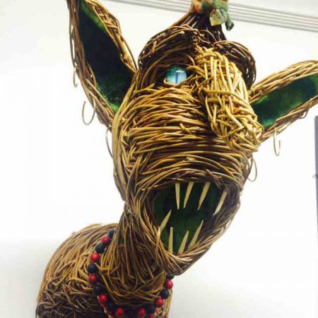Willow sculpture of a goblin head