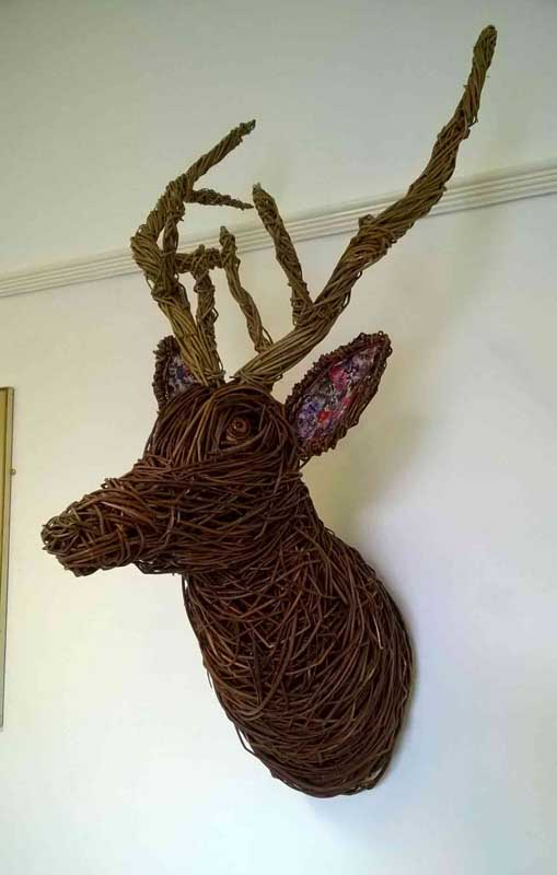 Willow sculpture of a deer head