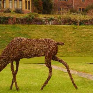 Willow sculpture of a doe