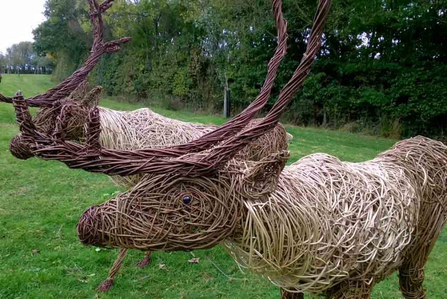 Willow sculpture of a reindeer