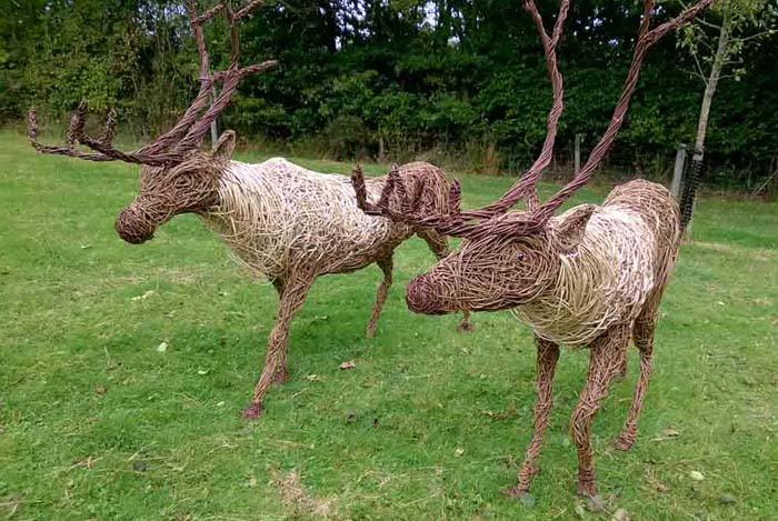 Willow sculpture of reindeer