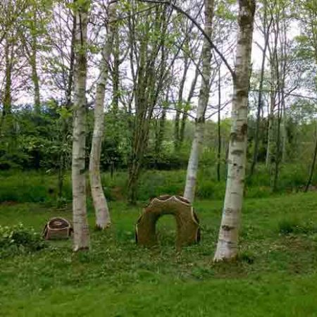 Willow sculpture of a giant snake