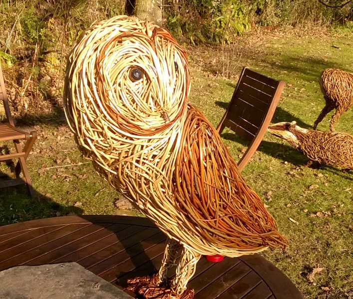 2 foot high Barn Owl willow sculpture