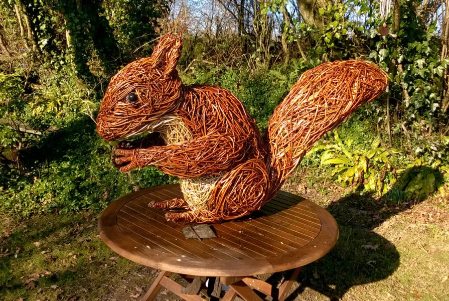 Willow sculpture of giant squirrel