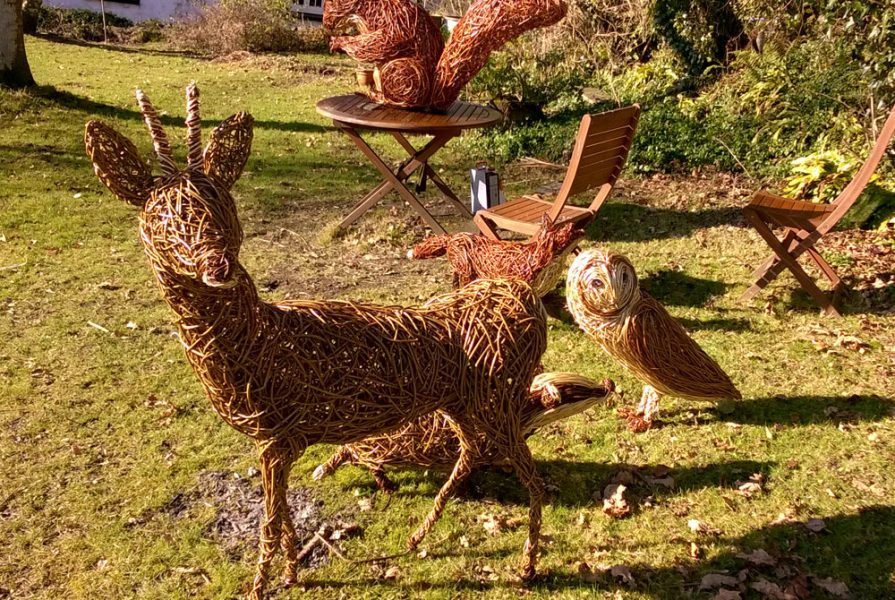 Willow sculpture of roe deer, barn owl, fox and squirrel