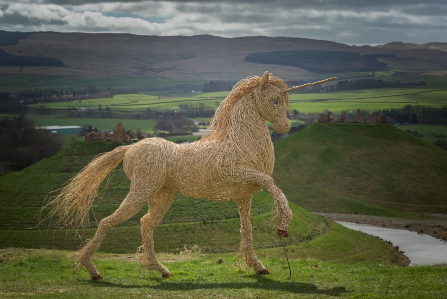 Willow sculpture of white unicorn