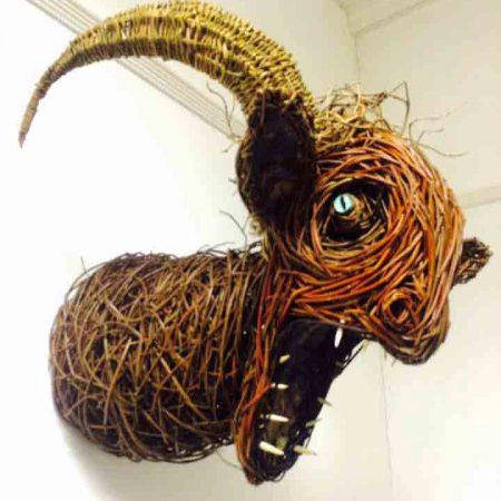 Willow sculpture of a faun