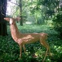 Willow sculpture of a white stag