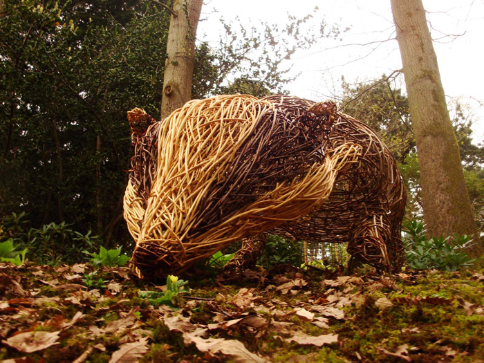 Willow sculpture of giant badger