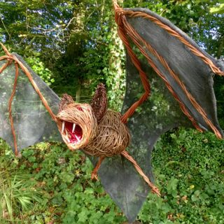 Willow sculpture of vampire bat