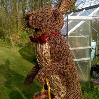 Willow sculpture of Easter Bunny