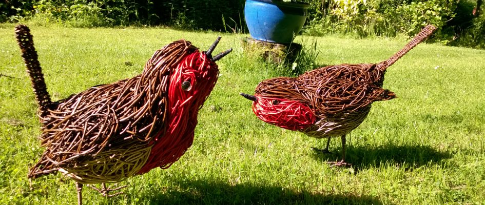 These robins were commissioned for a birthday present.They were made from various willows as well as the red dyed willow which I rarely use.