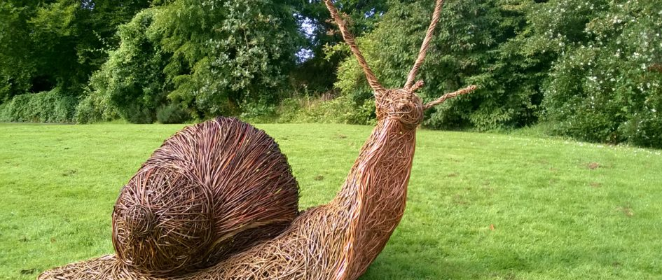 This Giant Snail is 5 foot high and made with various colours of willow and finally varnished to give that slimey feel!