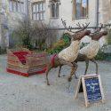 Willow sculpture of reindeer pulling sleigh