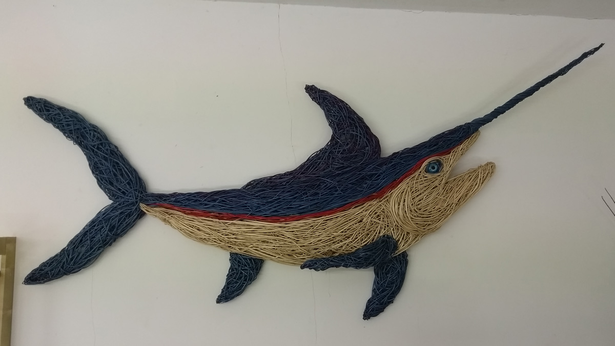 7 foot long willow Marlin sculpture made from dyed willow.