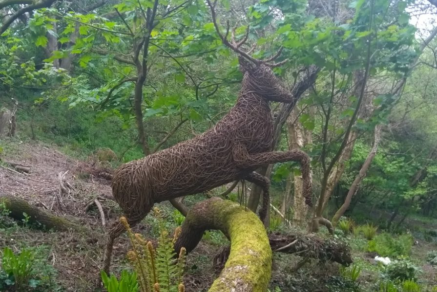 Willow sculpture of a leaping stag