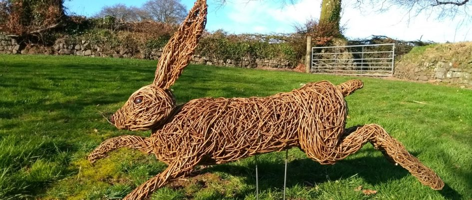This hare is 4 ft long, made with brown willow and hand made resin eyes.