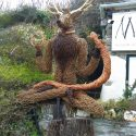 8 foot high Willow sculpture of Cernunnos, the Horned God. Made of various willows.