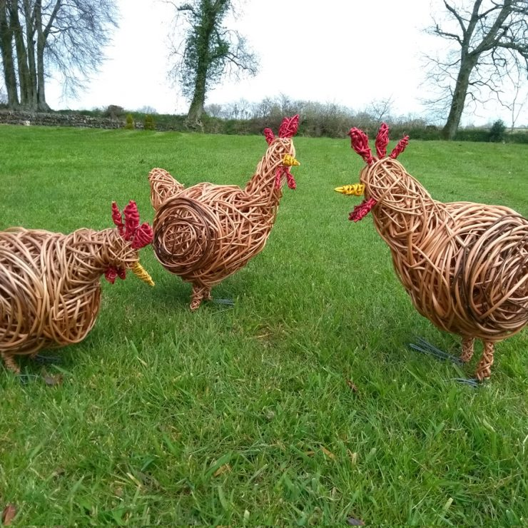 Willow sculptures of 3 chickens, made of willows and wire legs