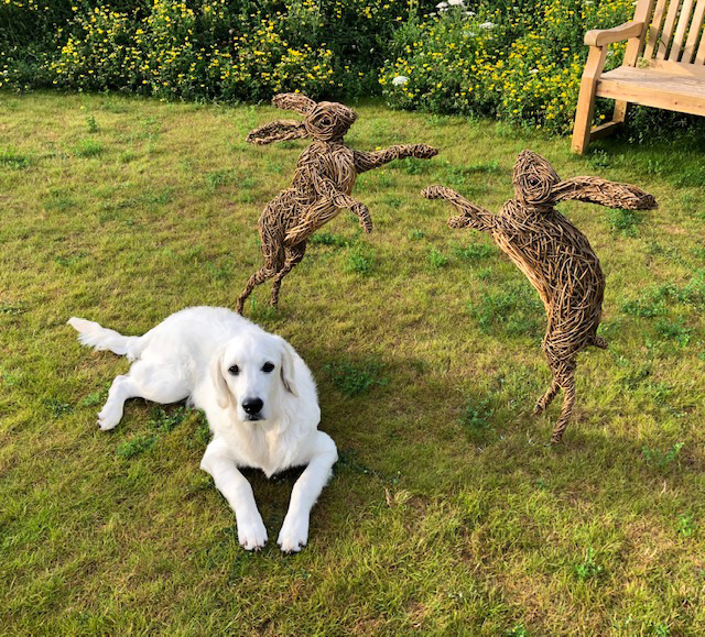 Boxing hares made of 2 colours of willow with resin eyes