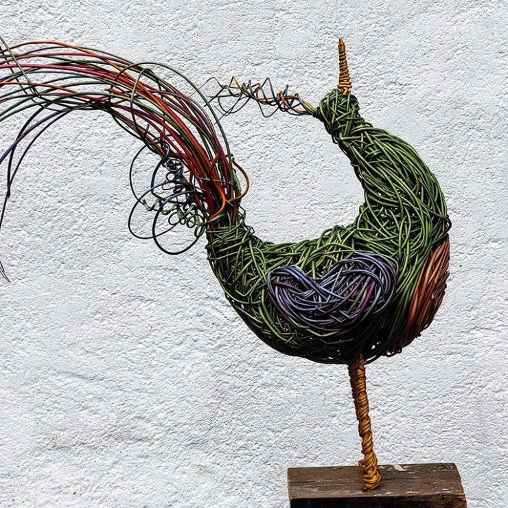 Generic exotic bird willow sculpture.