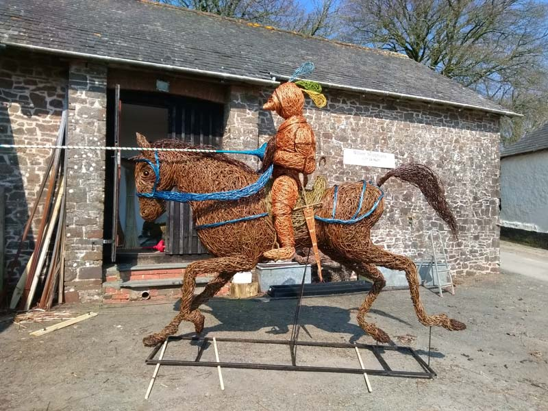 French knight jousting on horseback willow sculpture