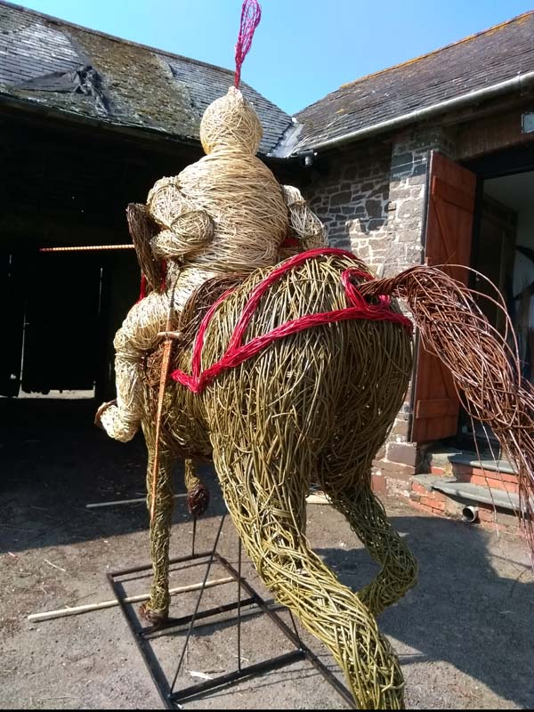 English  jousting Knight on horseback willow sculpture