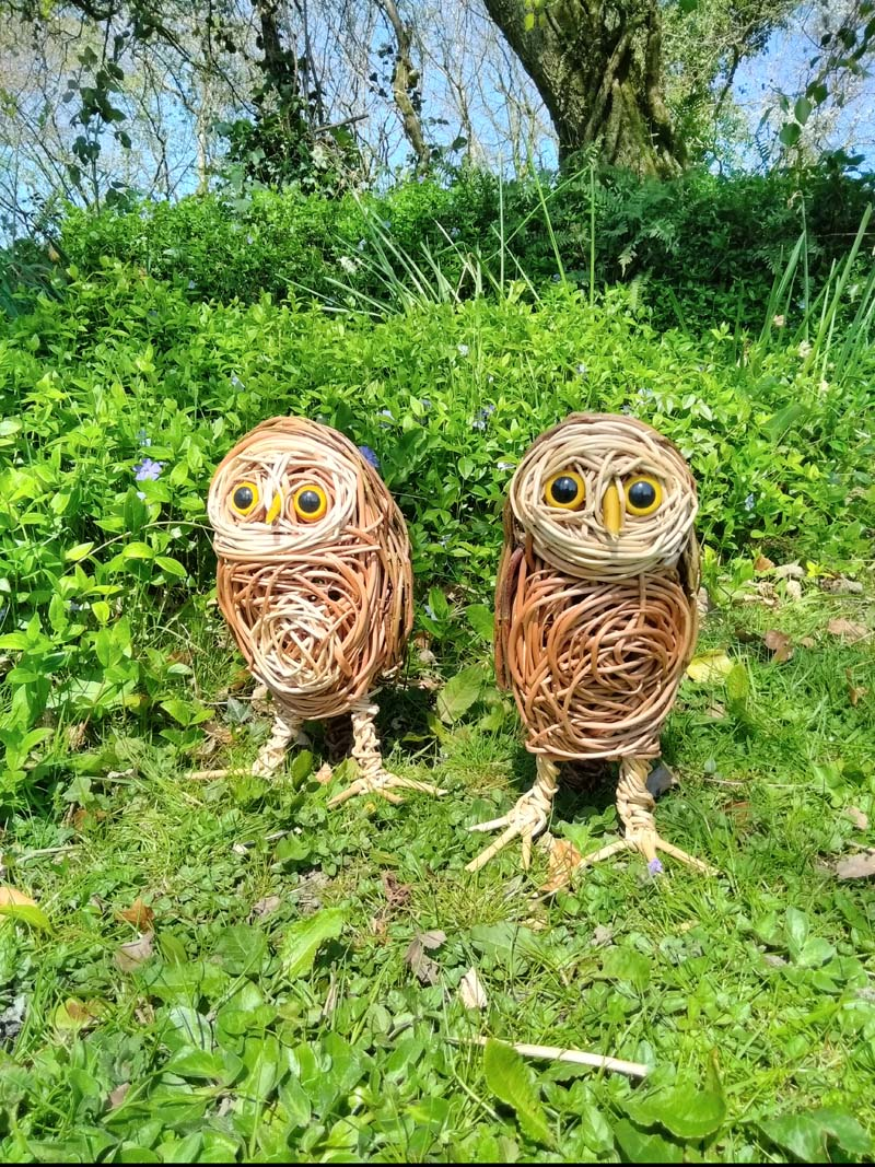 Little owl willow sculptures