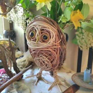 Little owl willow sculptures