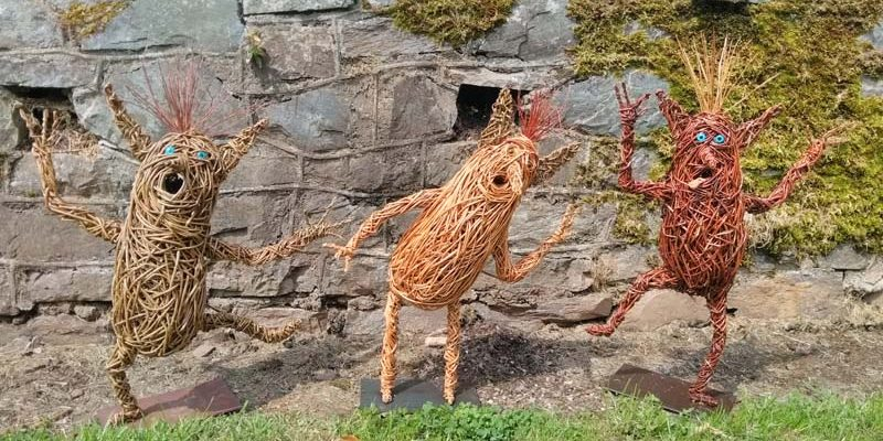 These willow faerie beings are made of various willows on a metal base. They have glass eyes and can go in or outside.