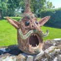a 3 foot high , double layered creation with glass eyes.