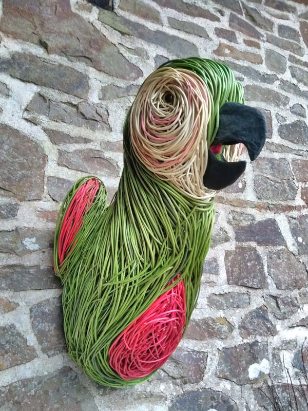 Willow parrot trophy head. 3 Foot high.