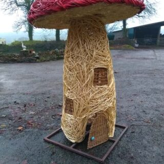 6 foot high Willow Mushroom fairy house
