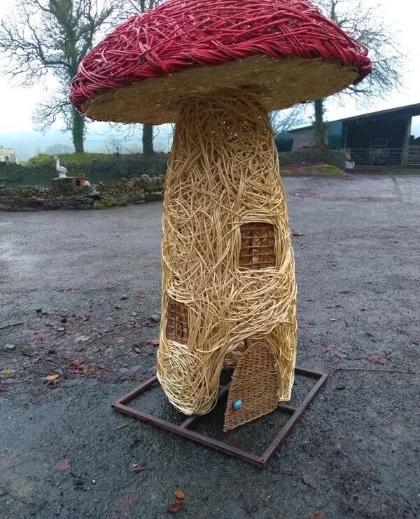 6 foot high Willow Mushroom fairy house