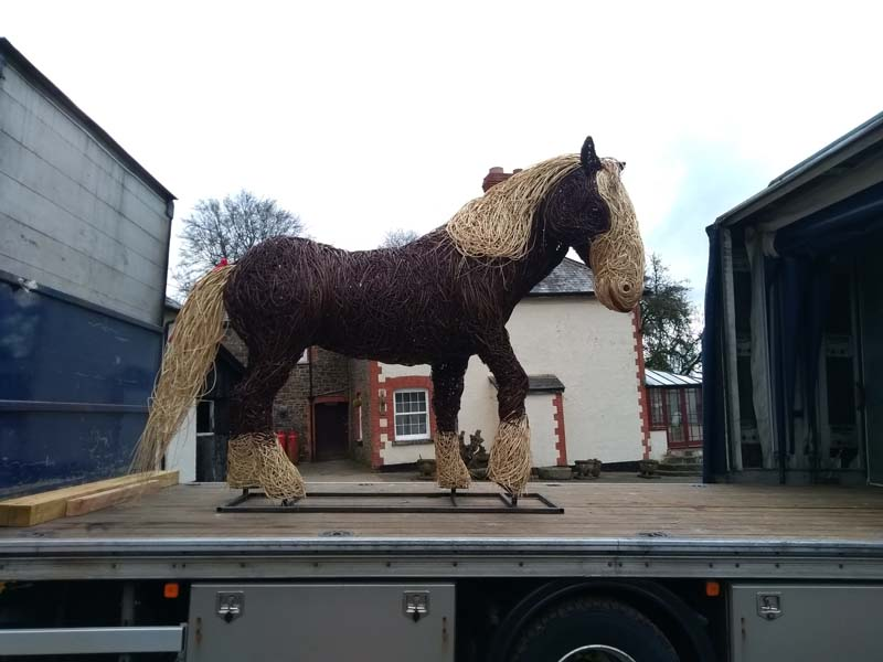 willow shire horse on the lorry